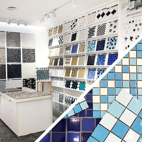 hot item blue mosaic tile fish scale wall art mural ceramic tile for swimming pool