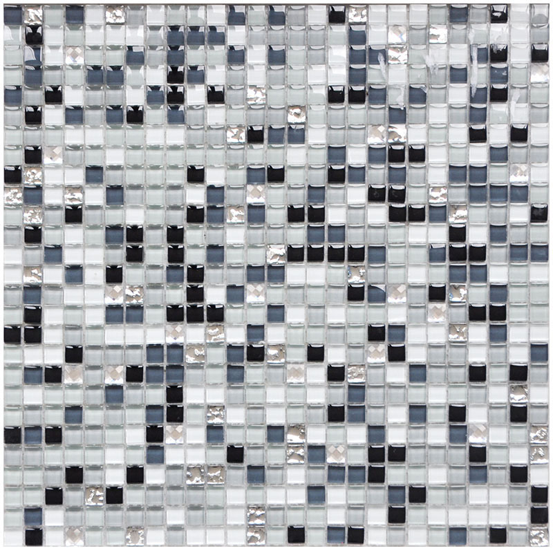 hot item 300x300 black grey white mix color crystal glass mosaic wall floor tiles