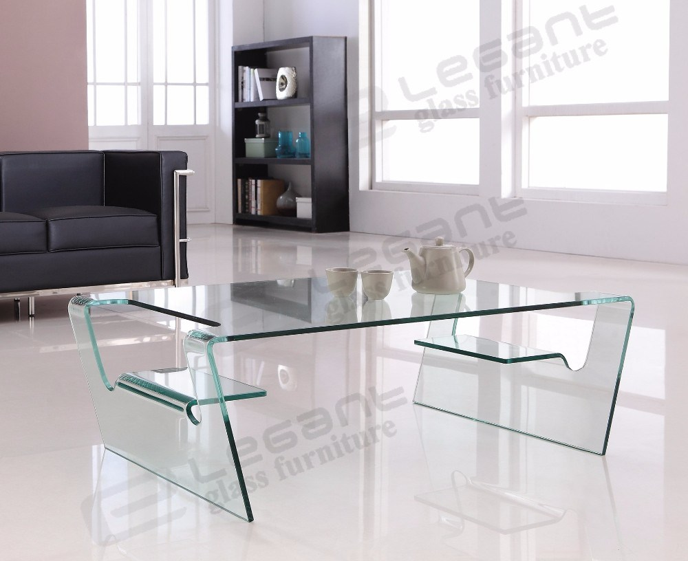 clear bent glass center table with