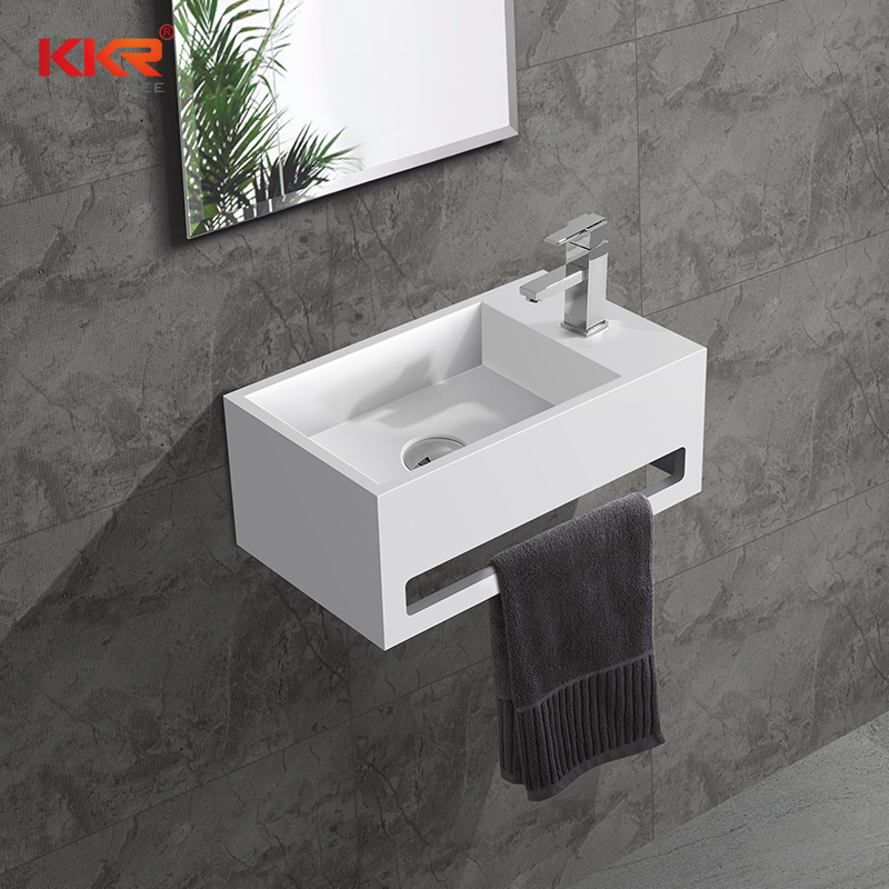 hot item modern white small size solid surface stone wall mount sink