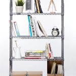Hot Item Adjustable Style Chrome Wire Shelf Type Diy Modern Booshelf Metal Bookcase With Simple Dividers