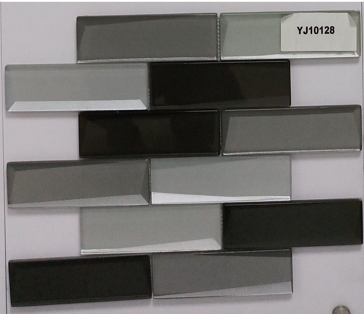 hot item gentle grey and black glass tile perfect for kitchen backsplash or bathroom color sample
