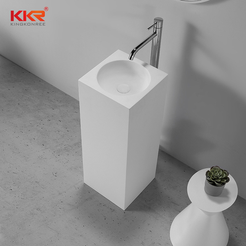 hot item hotel project bathroom sinks modern pedestal stone wash basin