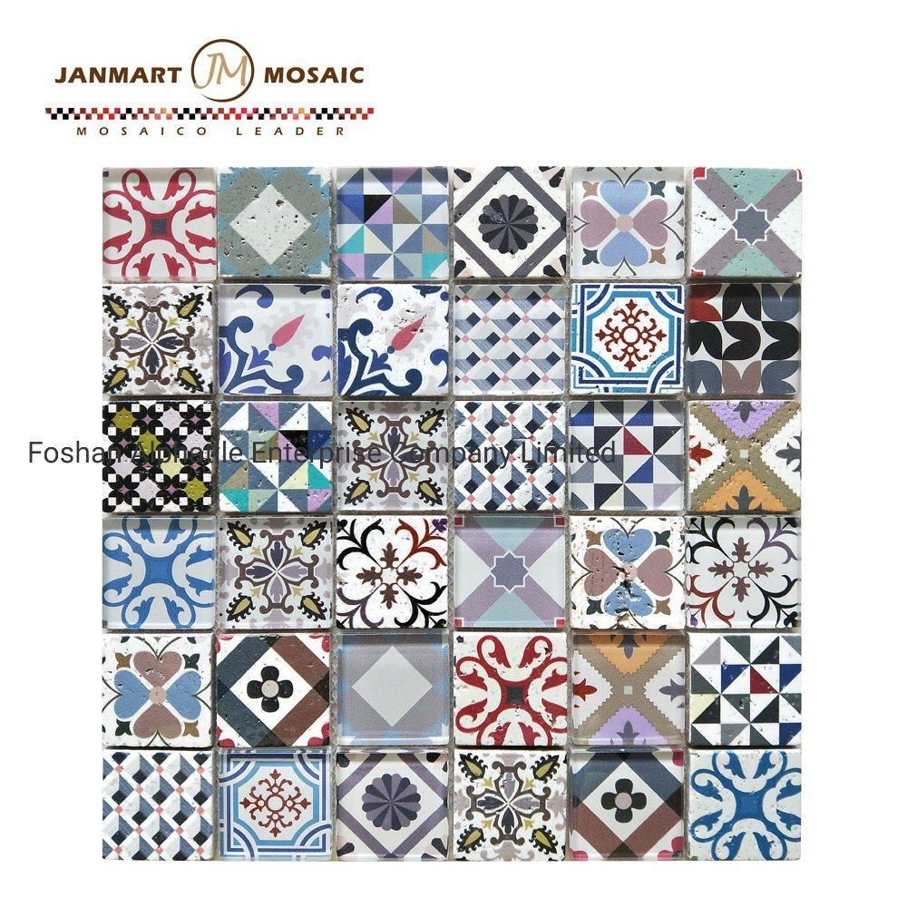 hot item shower colored backsplash mini subway tile color mix inkjeted printing glass brick pattern mosaic wall tiles