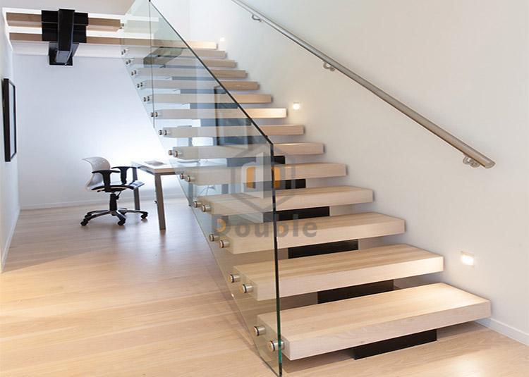 China Modern Stairs Design Glass Railing Wood Steps | Wooden Stairs Railing Design With Glass