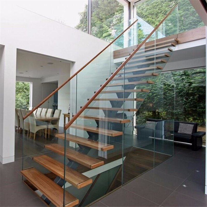 China Prefab Steel Wood Straight Staircase With Glass Stair | Metal And Wood Interior Railings | Contemporary | Art Craft | Black Glass Interior | Wood Cap | Metal Exterior Brown