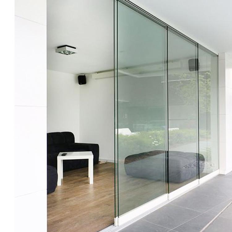 hot item custom exterior commercial aluminum frameless glass stacking sliding doors