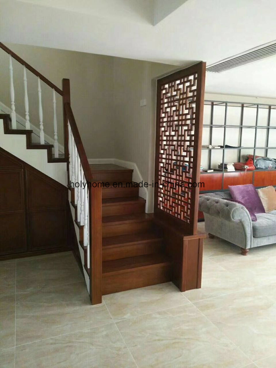China Modern Wooden Stairs Glass Railing Wood Steps Staircase | Modern Wood Stair Railing | Creative Outdoor Stair | Traditional | Indoor | Balustrade | Cherry Wood