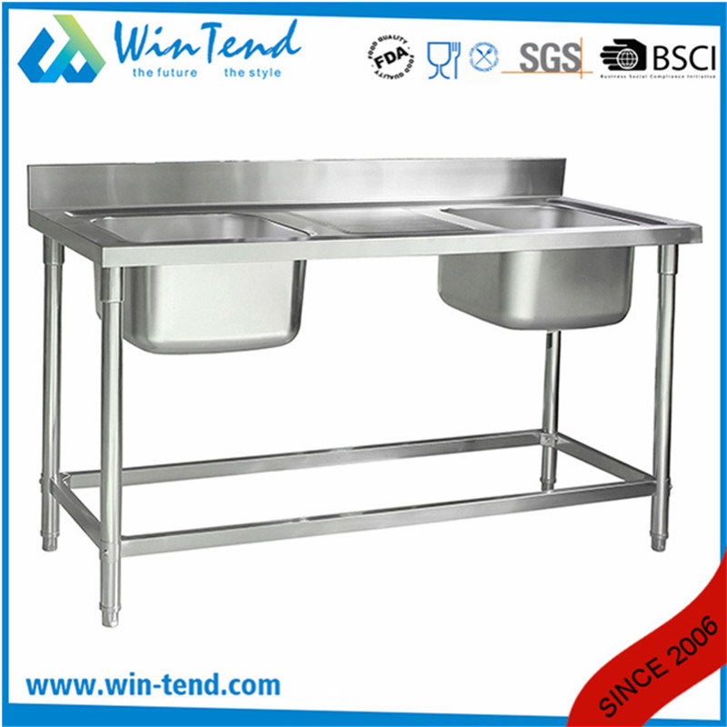 hot item commercial custom stainless kitchen double bowl double bowl sink stand