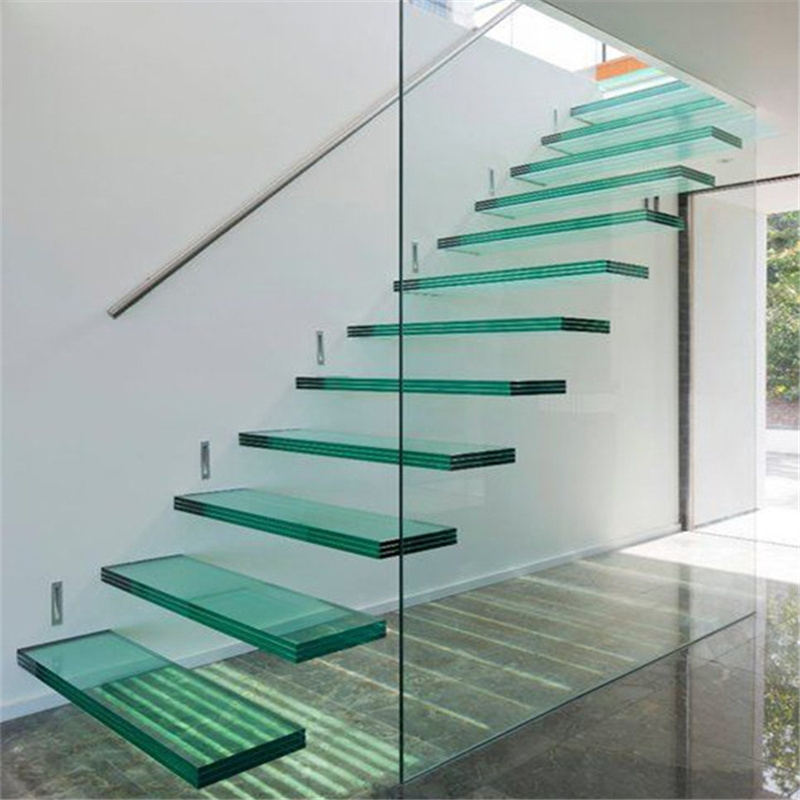 China Interior Modern Floating Staircase Tempered Glass Stair With | Modern Staircase Glass Railing Designs | Commercial Building | Glass Panel Wooden Handrail | Side Glass Rail | Glass Stair | Modern Aluminium