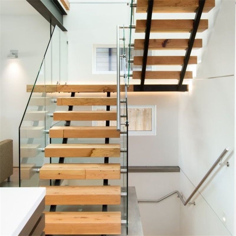 China Single Steel Beam Solid Wood Straight Staircase Double Beam   Wood And Glass Staircase   New   Spiral   Stair Railing   Design   Stair Case