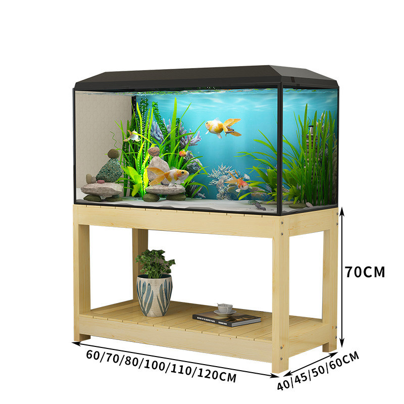 hot item multi purpose wooden rack two tier for fish tank pine wooden support wooden stand natural