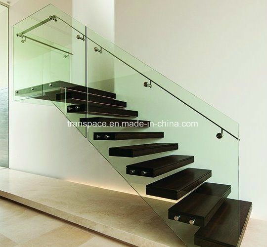 China Hot Selling Indoor Frameless Glass Railing Solid Wood Steps | Floating Stairs With Glass Railing | Wall | Commercial | Glass Staircase | Thin Glass | Modern