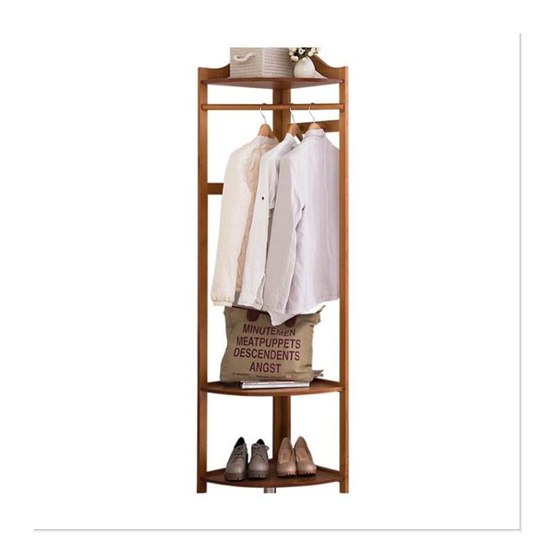 hot item pine corner coat rack solid wood floor shelf triangle hanger