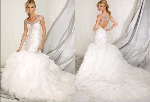China Rhinestones Puffy Lace Tulle Mermaid Wedding Gowns