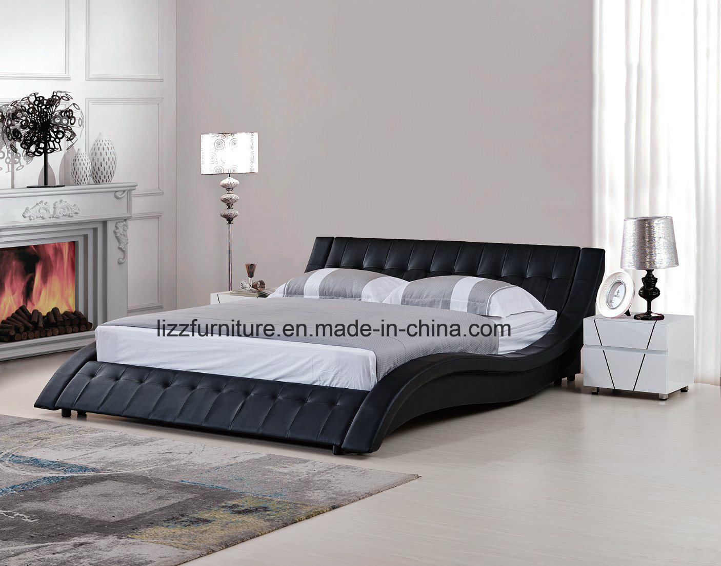 China Euro Black Leather Queen Size Curved Shape Platform Bed China King Size Bed Soft Bed