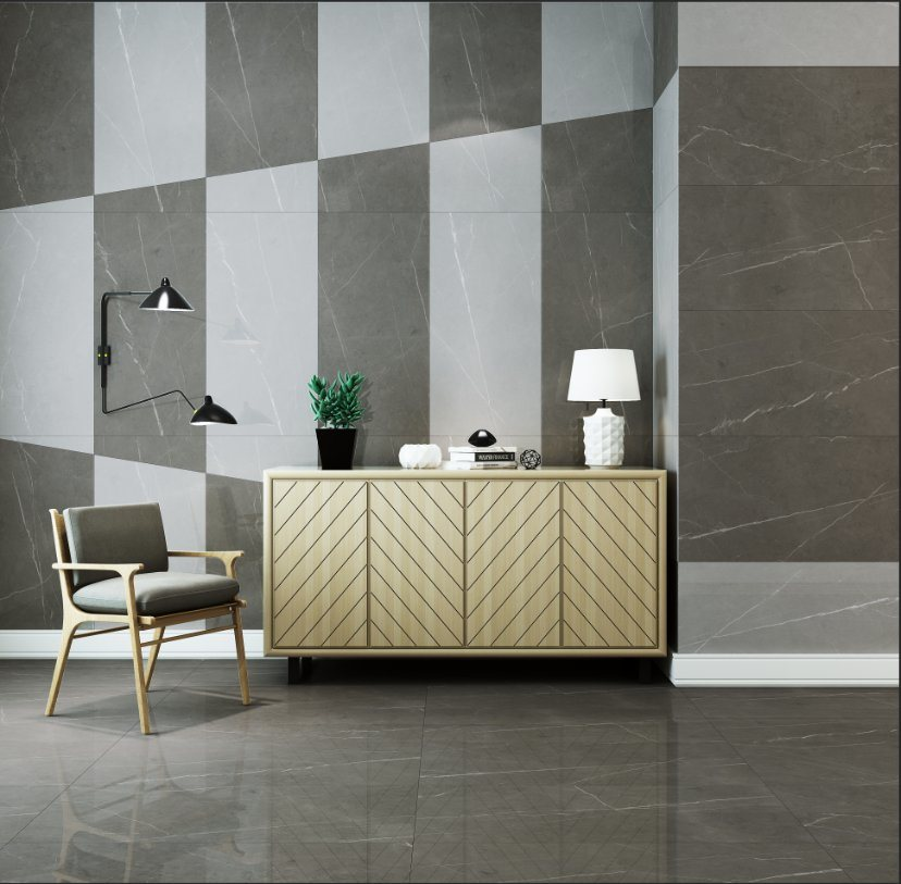 hot item 600x1200mm 24 48 light grey polished marble look porcelain floor and wall tiles