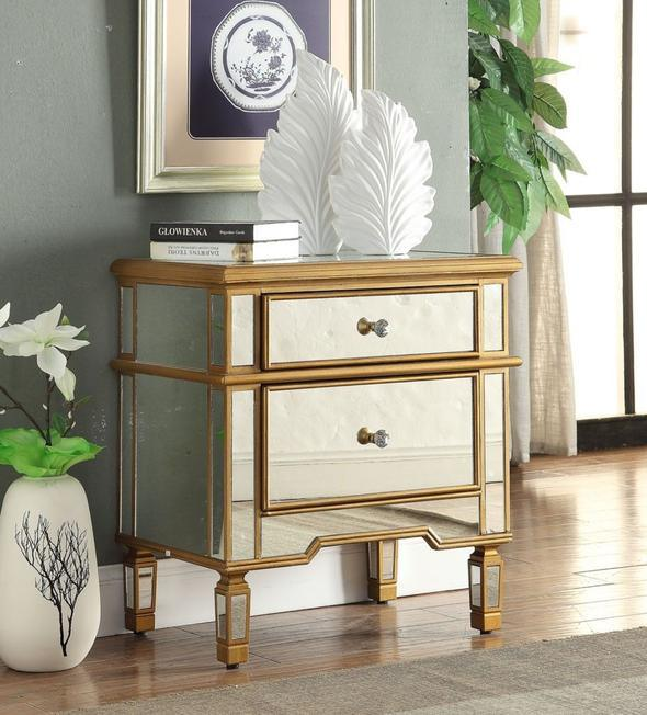 gold surround mirrored nightstand table