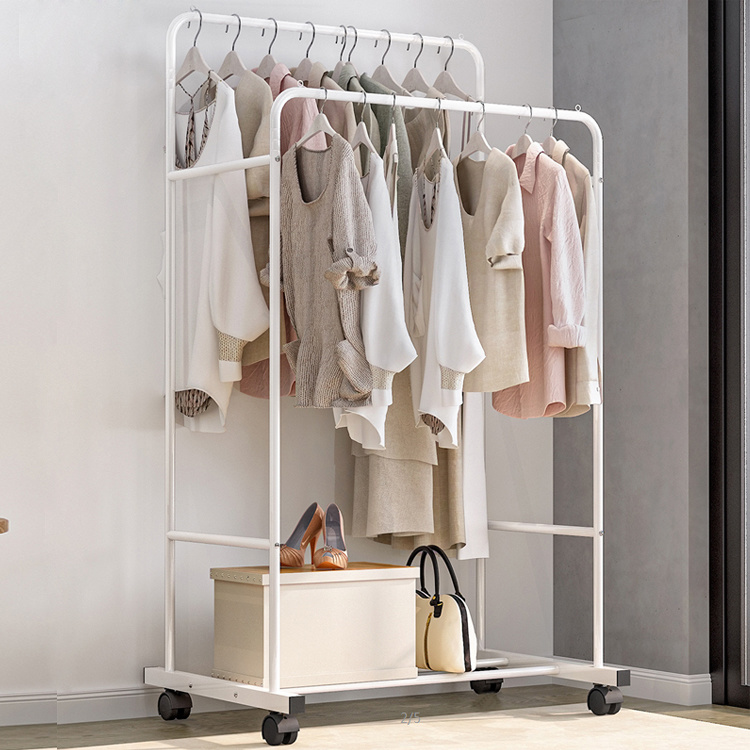 hot item heavy duty multifunctional double pole clothes hanger hanging rack 088y 1
