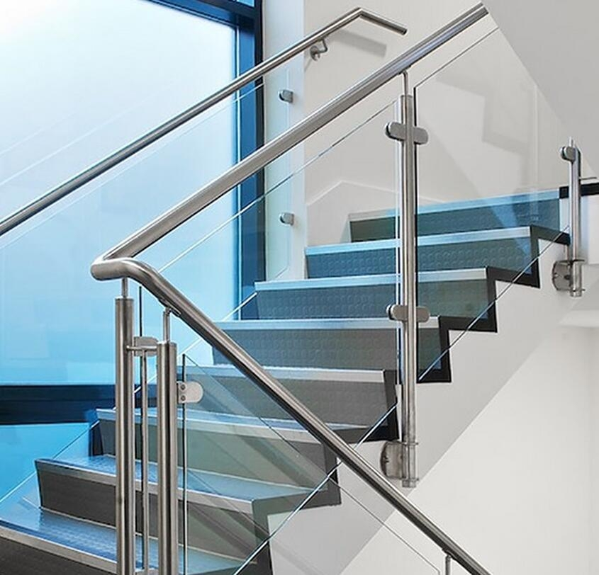China Indoor And Outdoor 304 316 Stainless Steel Glass Stair   Glass Stair Railings Interior   Indoor   Architectural Modern Wood Stair   Stair Banister   Stainless Steel   Glass Balustrade