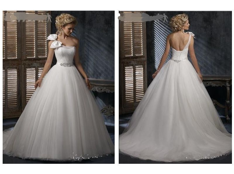 China One Shoulder Bow Tulle Wedding Gown (HS-905)