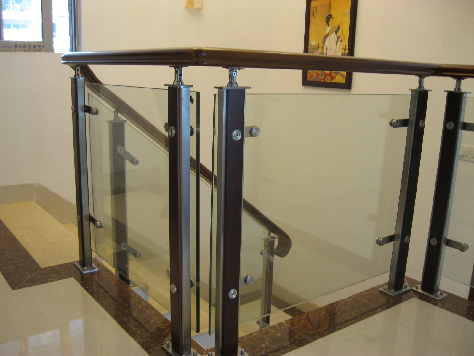 China Stainless Steel 15Mm Thick Tempered Glass Balustrade Wooden | Glass Balustrade With Wooden Handrail | Contemporary | Glass Panel | Interior | Guardrail | Atrium