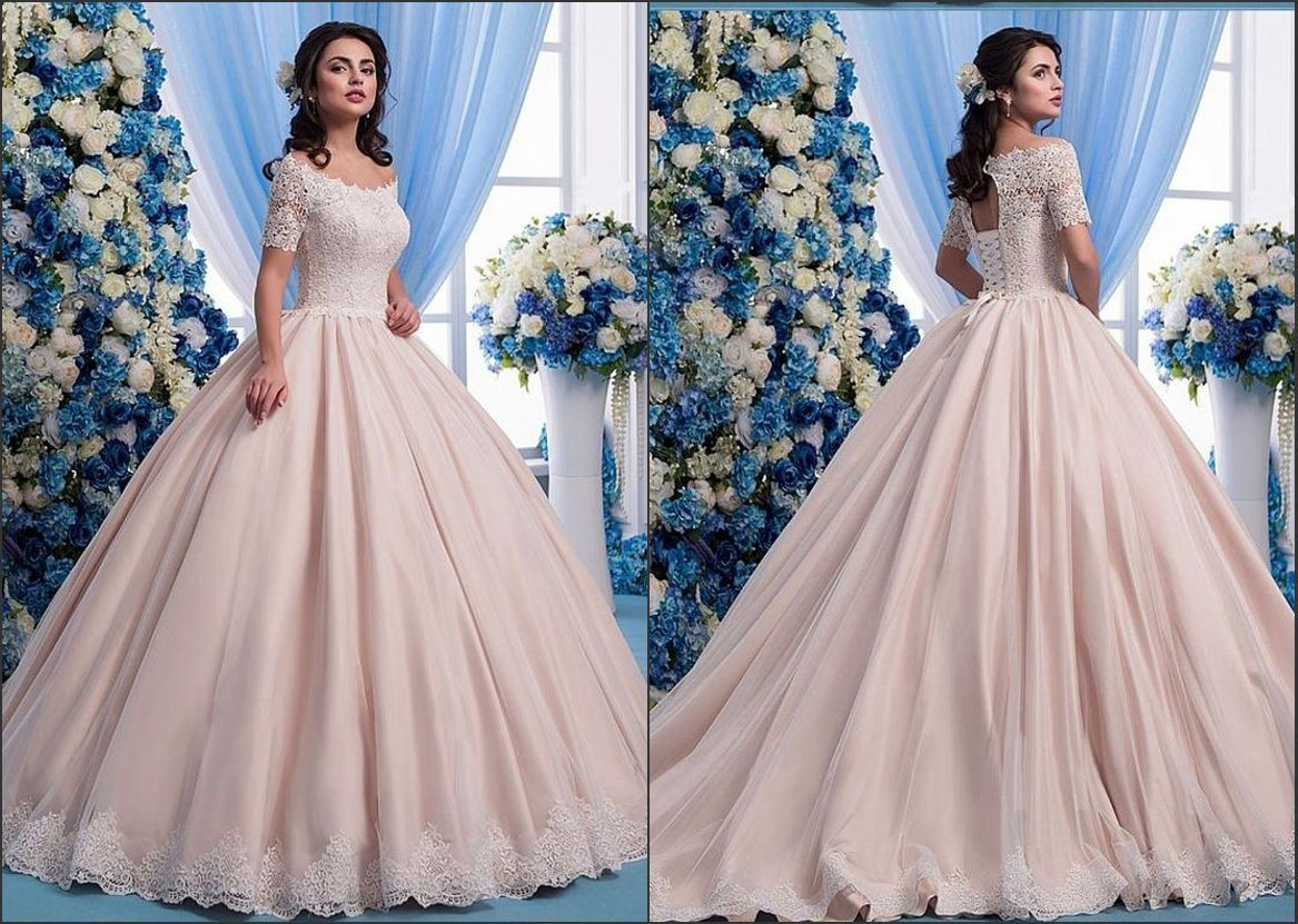 China Lace Bridal Ball Gowns Short Sleeves Pink Wedding