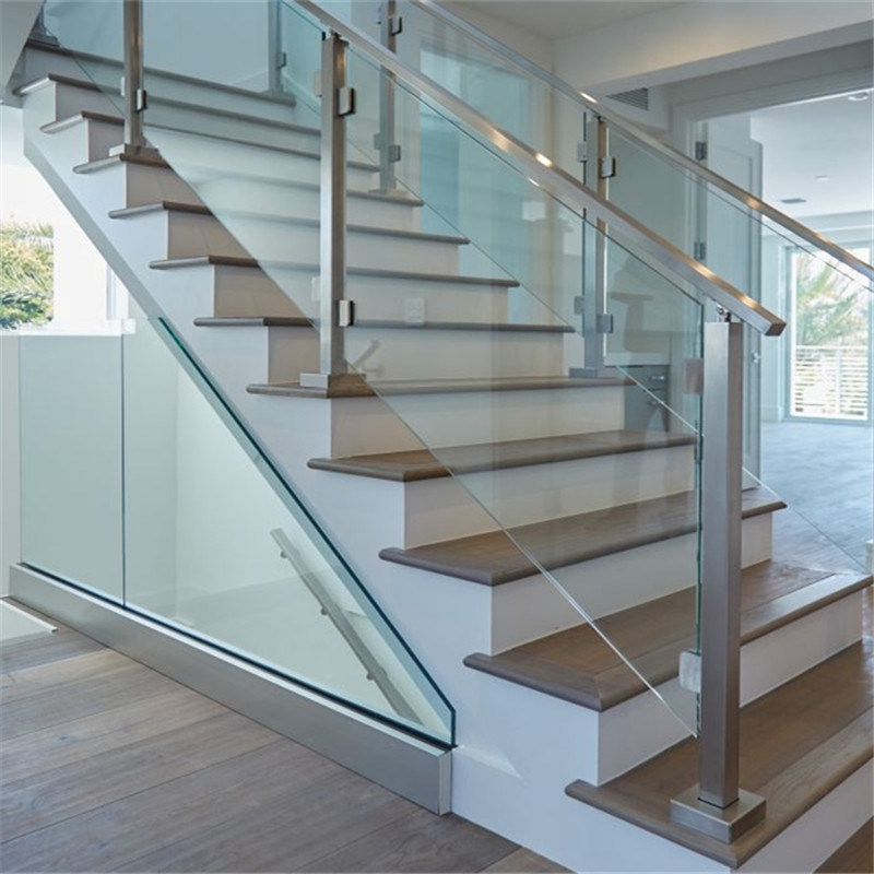 China Factory Manufacture Aluminum Glass Stair Guardrail   Aluminium Handrails For Stairs   Guardrail   Exterior   Wood Wall Mounted Stair   Copper   Glass Balustrade