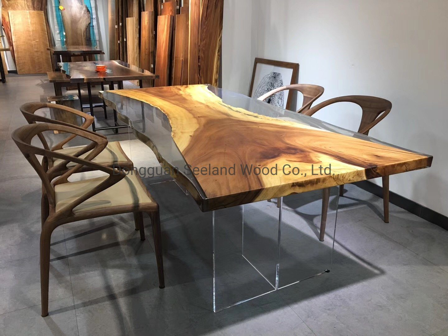 hot item oak slab wooden countertop round table top entrance table console table with live edge