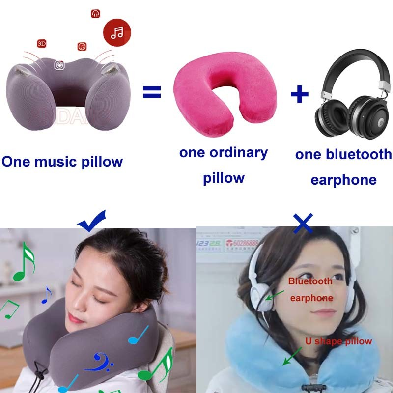 hot item cervical healthcare neck pillow sleeping use neck pillows with bluetooth music player u shape pillow