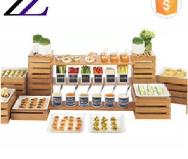 Arabic Restaurant Catering Decorations Equipment Price List Wooden Crates Buffet Elevation Wedding Wood Buffet Food Dessert