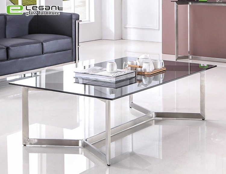 china glass coffee table with stainless