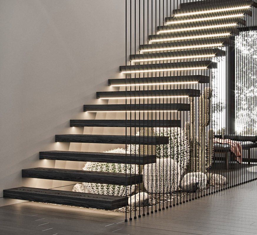 China Diy Floating Staircase With Wood Tread Floating Stairs With | Floating Wood Stair Treads | Stair Nosing | Stair Railing | Stair Parts | Viewrail | Trade Assurance
