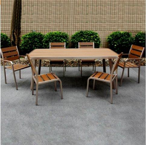 hot item king patio wholesales outdoor uv resistant metal furniture aluminum teak polyw wood dining set stainless steel outdoor dining table and