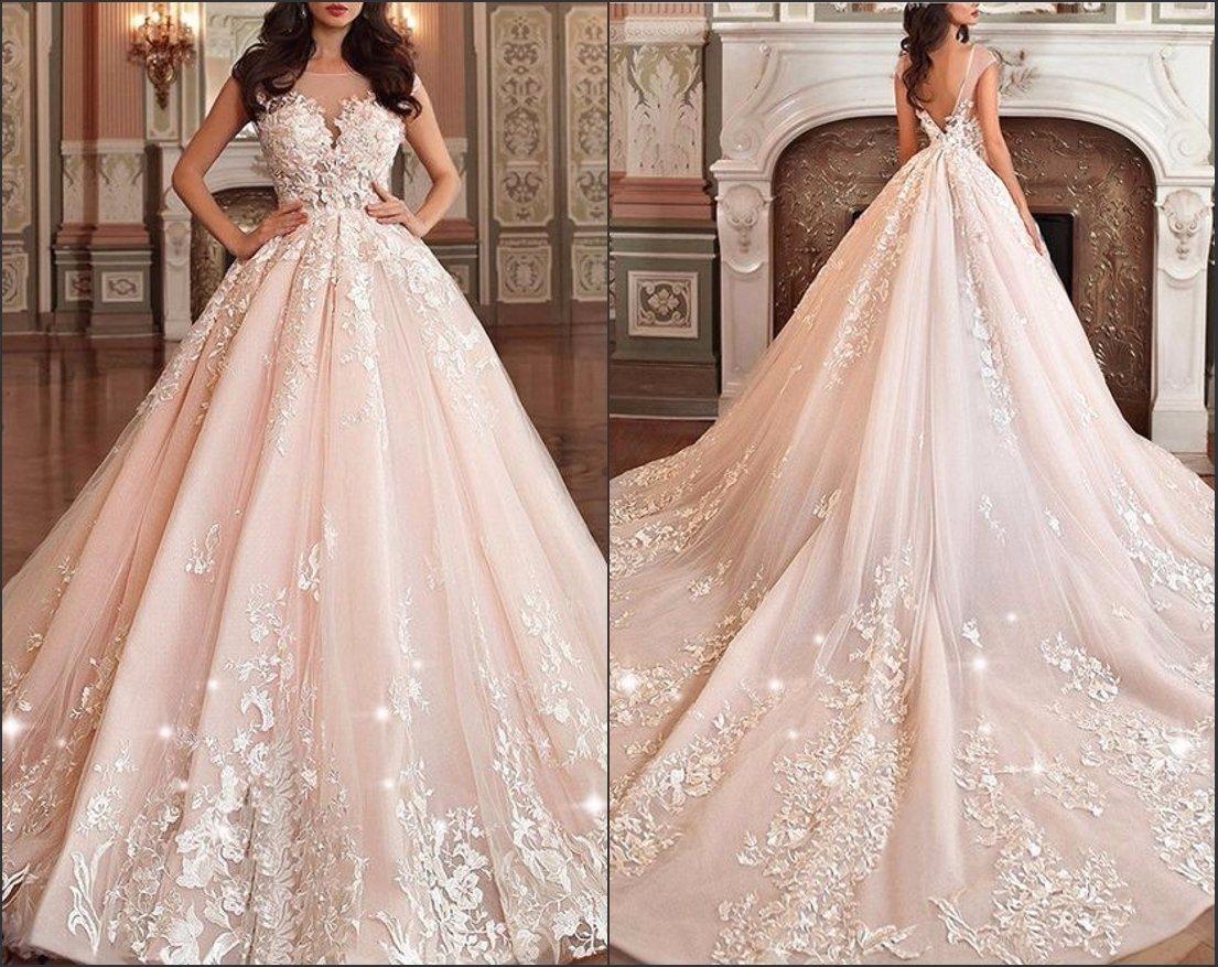 China Blush Bridal Prom Ball Gown Pink Champagne Wedding