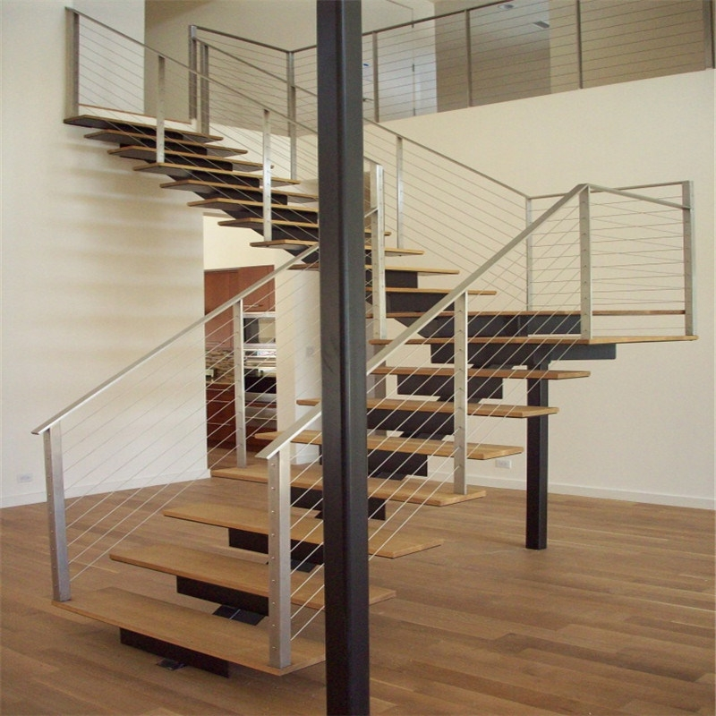 China Modern Steel Stringer Straight Staircase With Cable Wire | Modern Cable Stair Railing | Stainless Steel Stair | Railing Systems | Glass Railing | Entry Foyer | Staircase Remodel