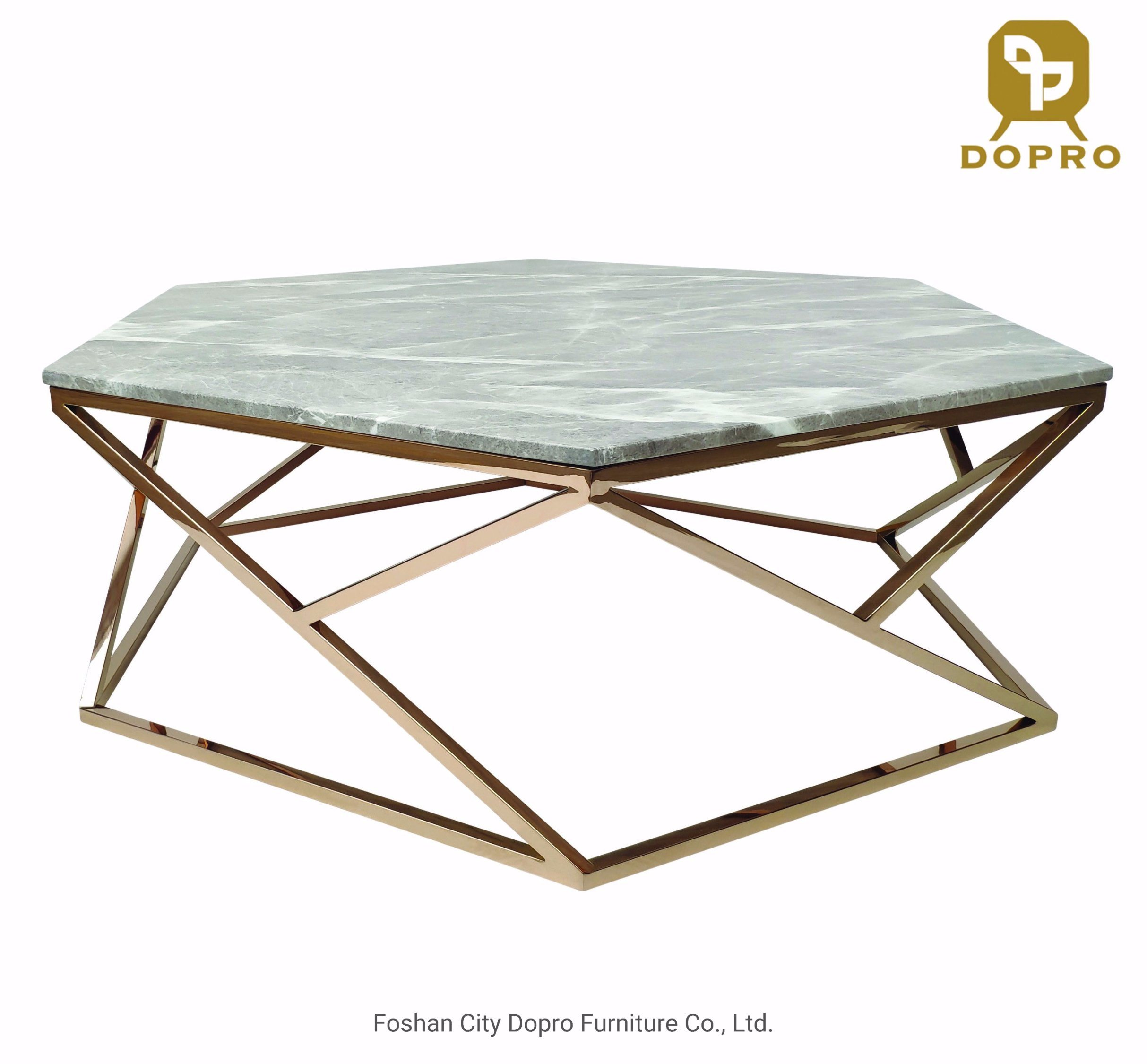 china hexagon marble top golden