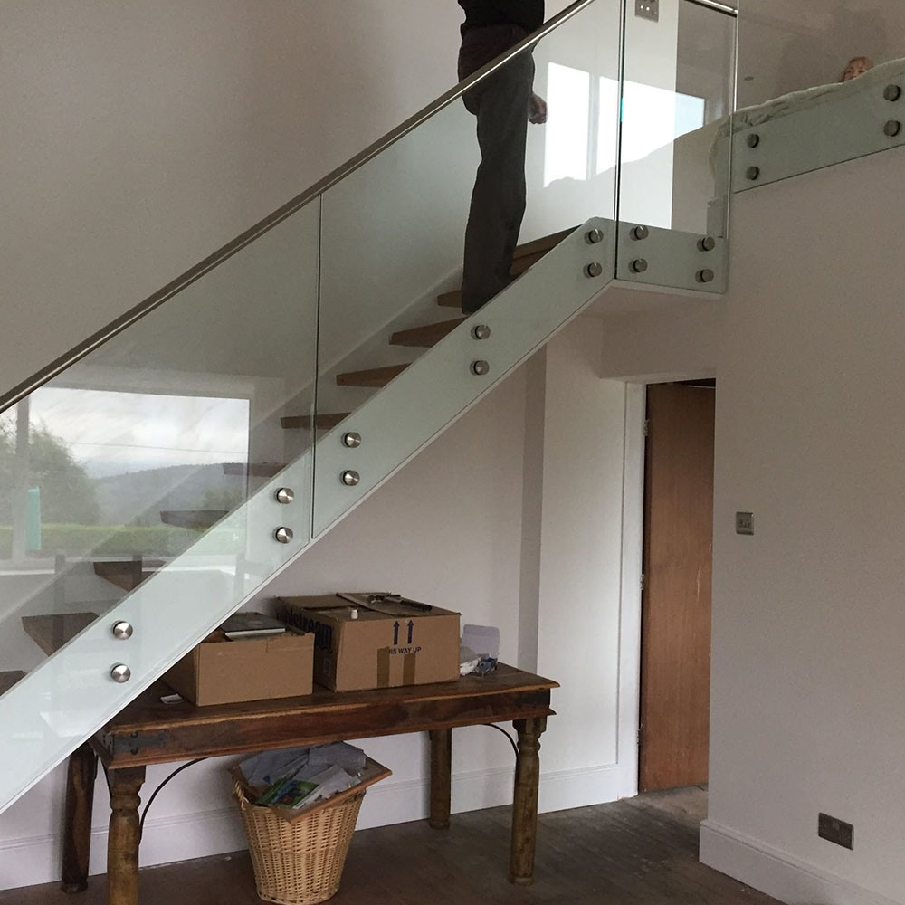 China Easy Installation Glass Stair Railing With Stainless Steel | Wooden Handrail With Glass | Oak | Square | Marble | Landing | Nautical Wood