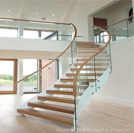 China White Powder Coated Home Used Glass Wood Stair Curved Glass | White And Wood Stairs | Non Slip | Foyer | Simple | Solid Wood | Indoor