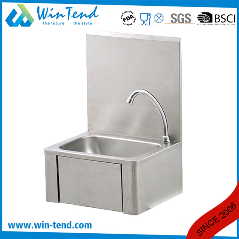 hot item knee operated faucet water connection kitchen sink basin with stainless steel 18 8 basin and backsplash