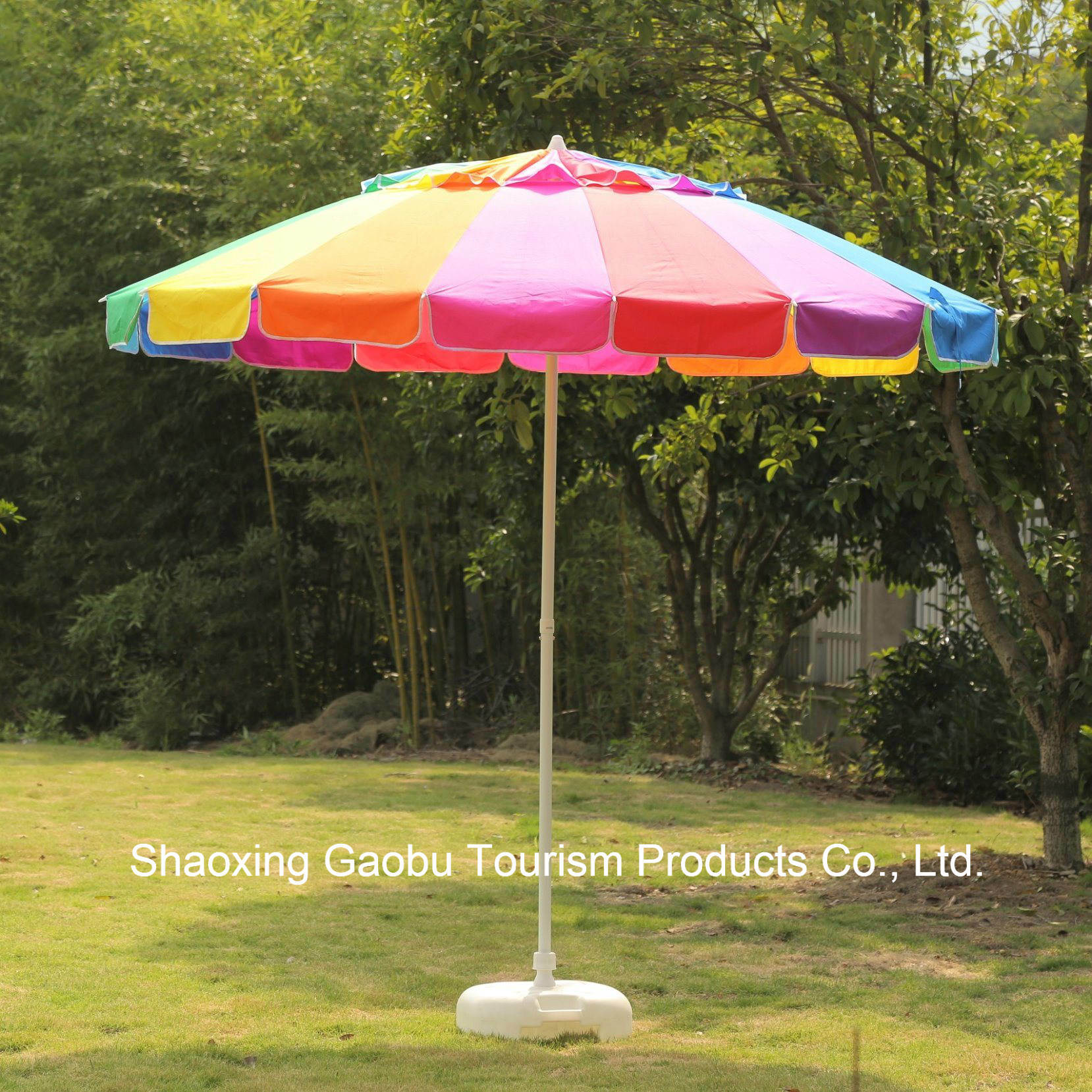 china colorful rainbow beach umbrella