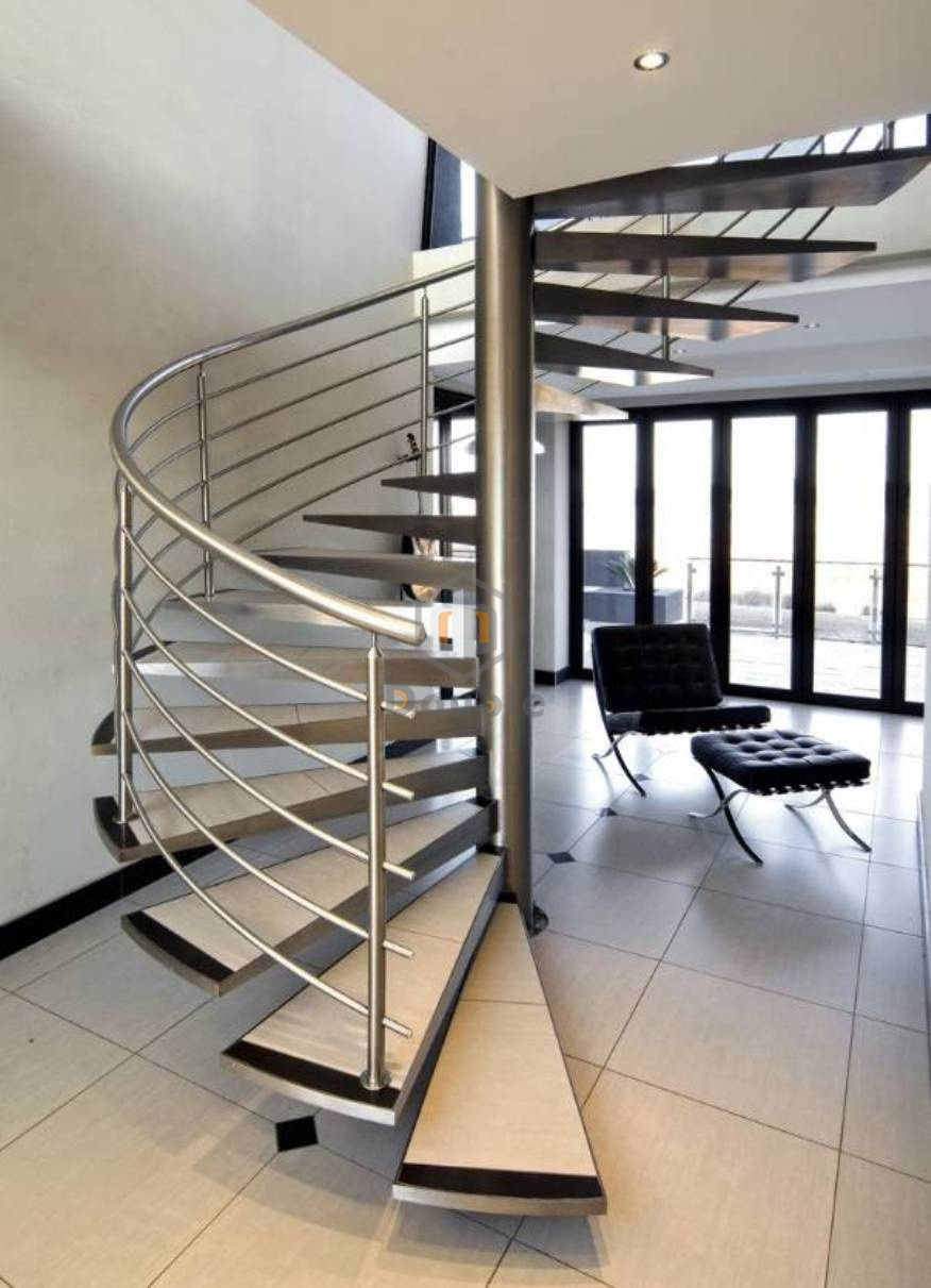 China Modern Indoor Design Spiral Staircase With Stainless Steel | Modern Stainless Steel Staircase Railing | Modular Steel | Hand | Crystal Handrail | Contemporary | Exterior