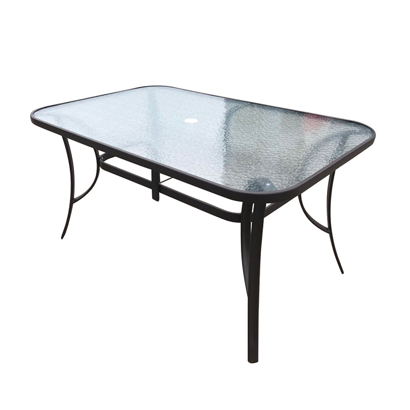 hot item hot sale rectangular modern outdoor metal tempered glass patio dining garden table with umbrella hole glass top