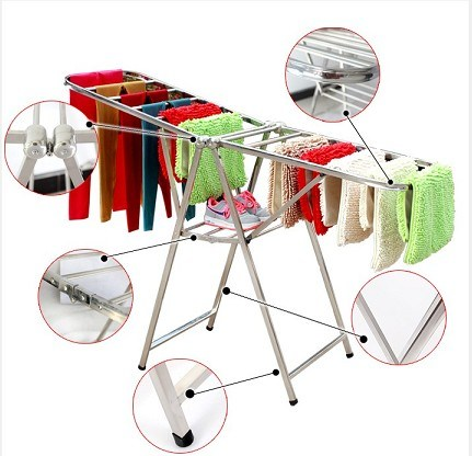 hot item stainless steel airfoil profile folding clothes drying rack clothes horse laundry rack