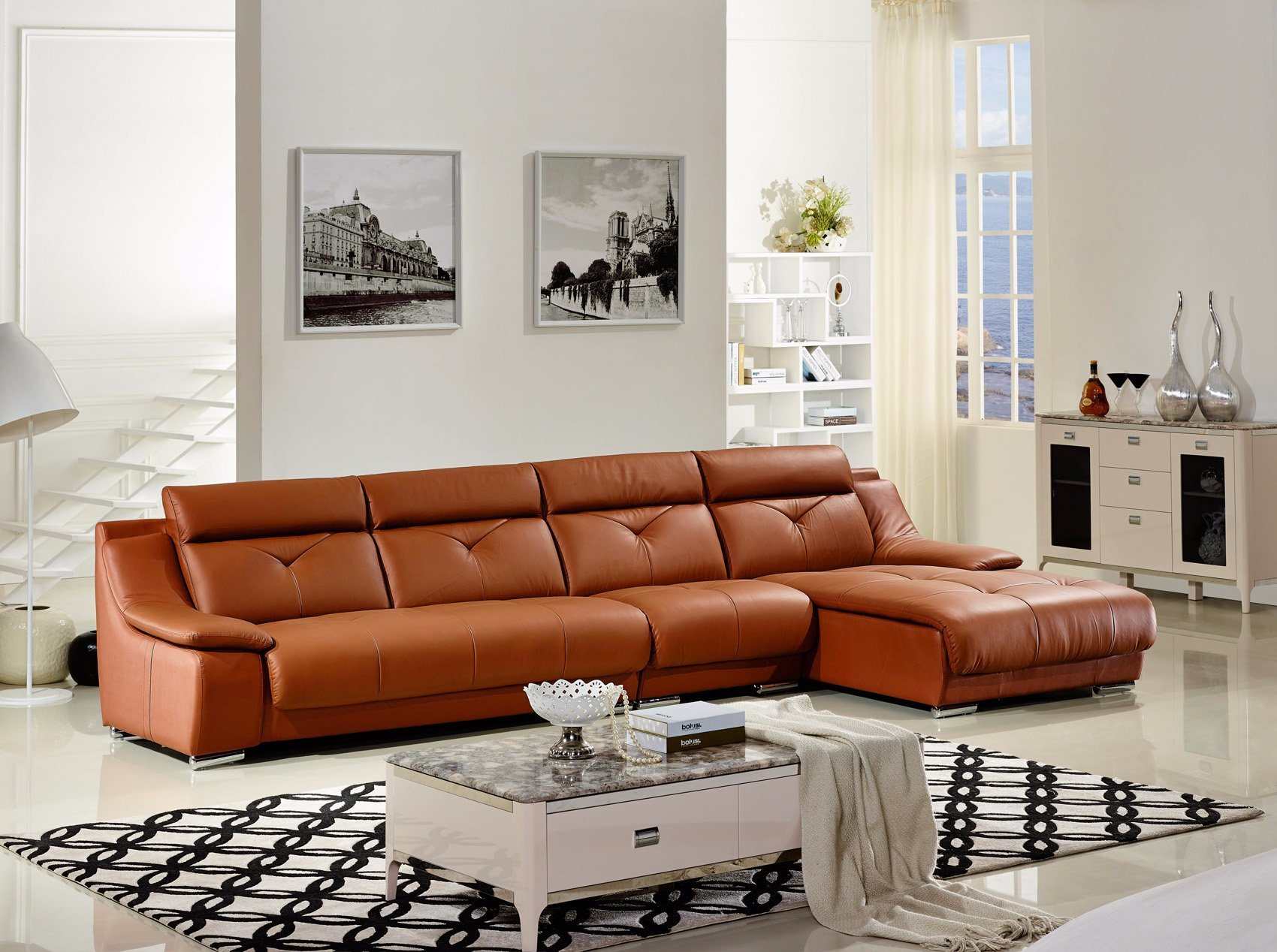 modern design l shape leather sofa