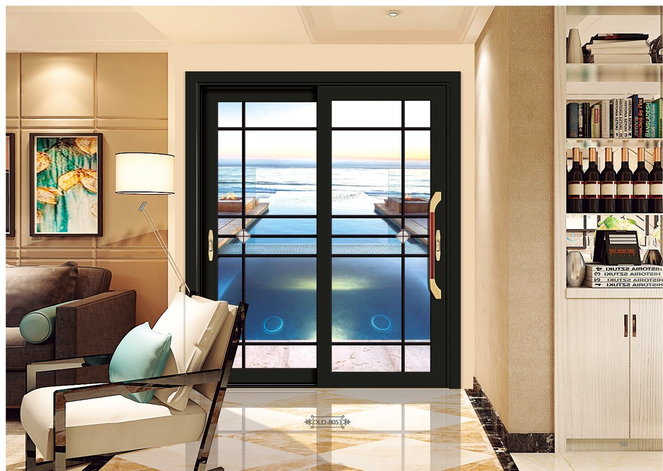 hot item security french exterior aluminium alloy tempered glass sliding window door house interior entrance aluminum steel patio doors with grill