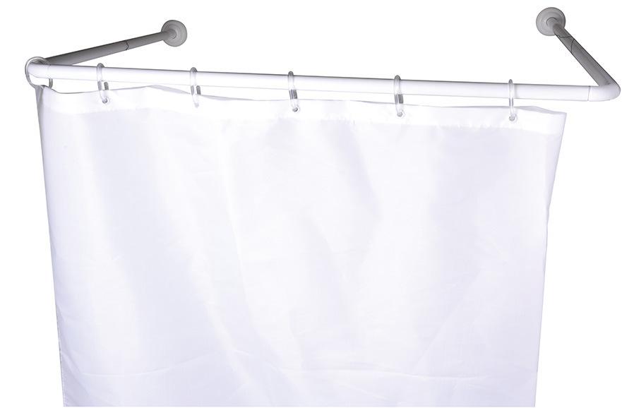 u shape white shower curtain rod