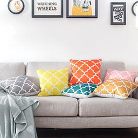 hot item modern quatrefoil throw pillow cover accent geometric cotton linen square pillow case cushion cover for home car seat sofa decorative 18