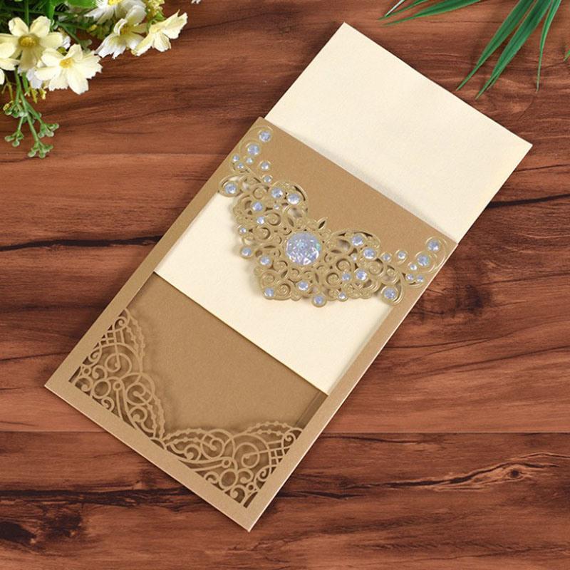 china gold stamping wedding invitation