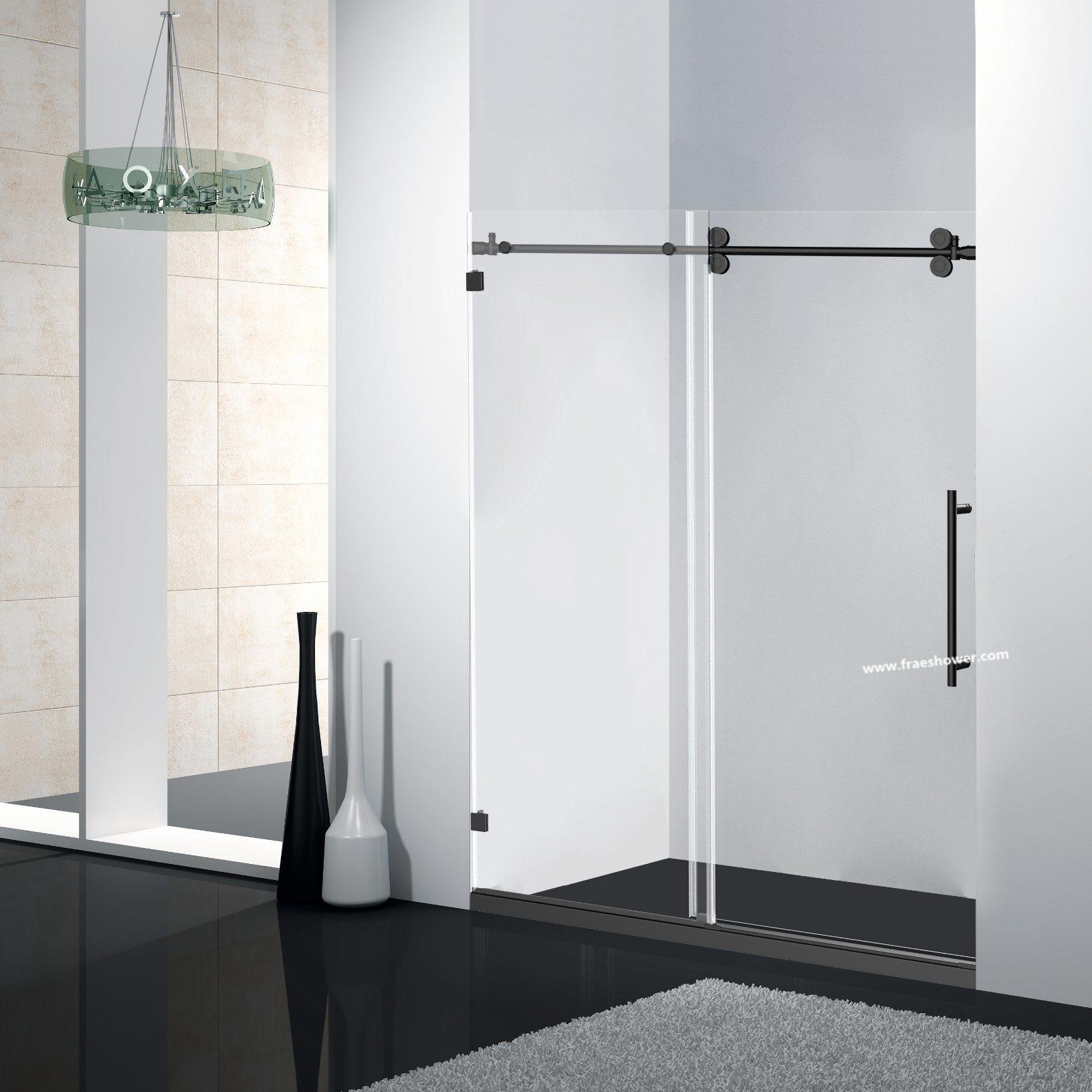 Hot Item Double Roller Sliding Shower Doors With Black Color